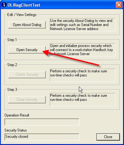 OLI Security Settings and Test
